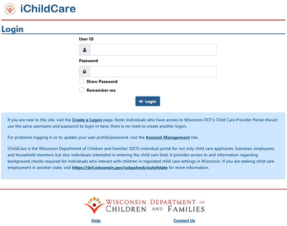 Wisconsin iChildCare Portal screenshot