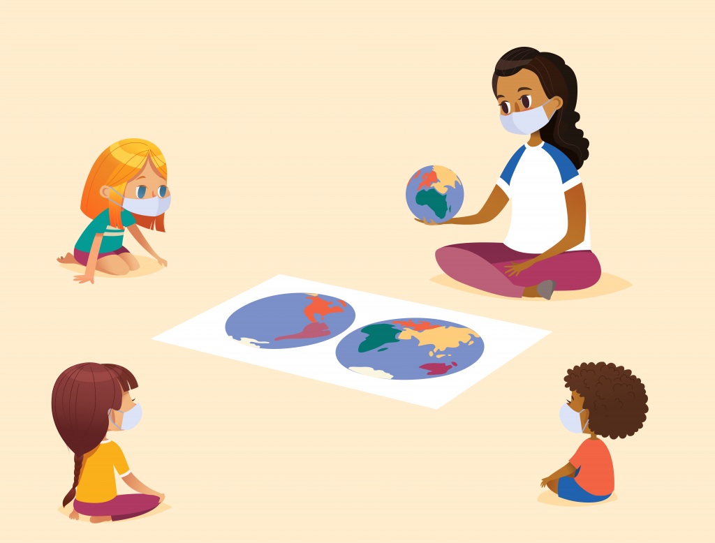 Cartoon image of children and an early care and education provider