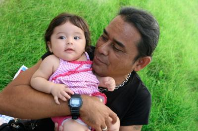 Image of Native American father and daughter.
