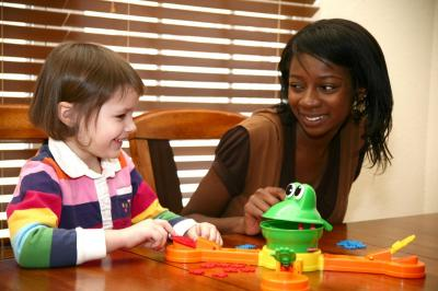 African American child care provider and child