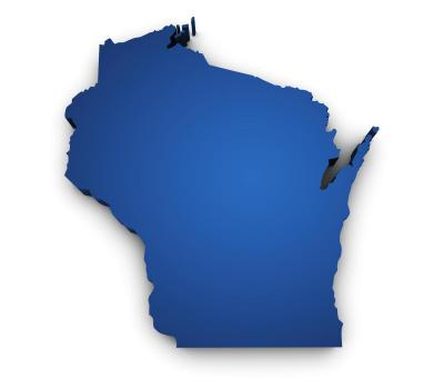 Blue state of Wisconsin symbol.