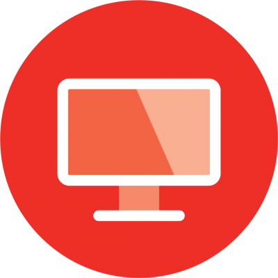 red icon of a computer monitor