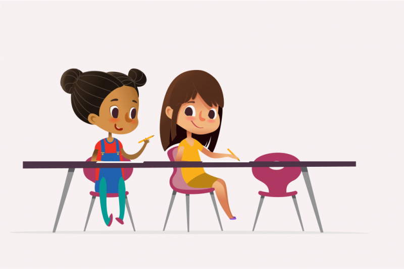 cartoon image of two girls sitting at desks writing