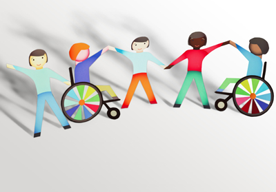 Paper cutouts of children in wheelchairs