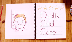 Image of an open book with a child on one page and the works quality child care on the other page