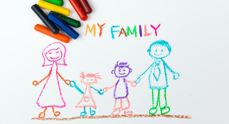 child drawing family picture