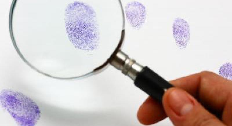 finger print and magnifying glass