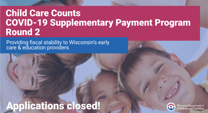 Banner image for the child care counts payment program featuring children and the department's logo